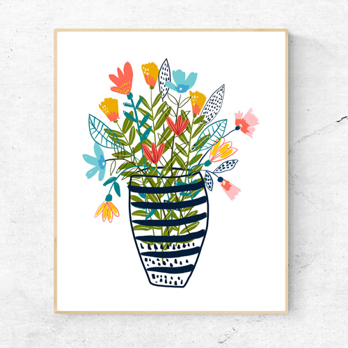 Flowers in a vase wall art