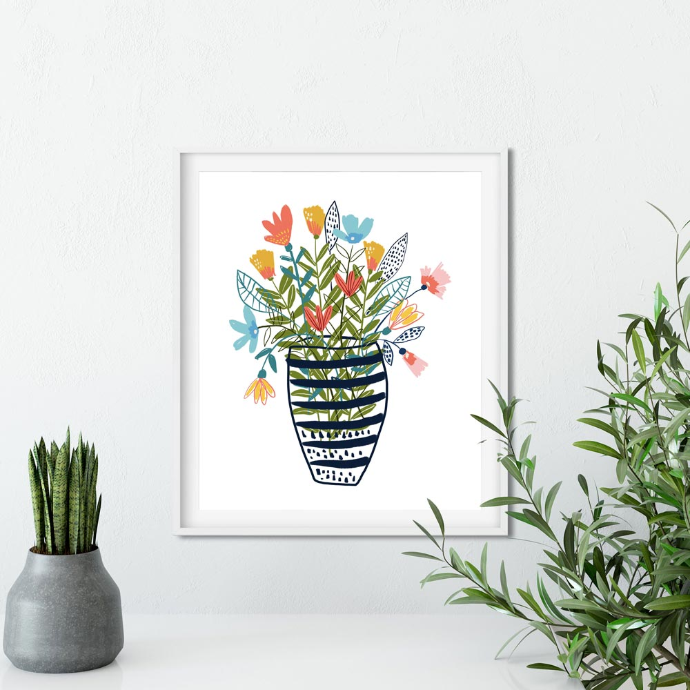 Flowers in a vase art printable