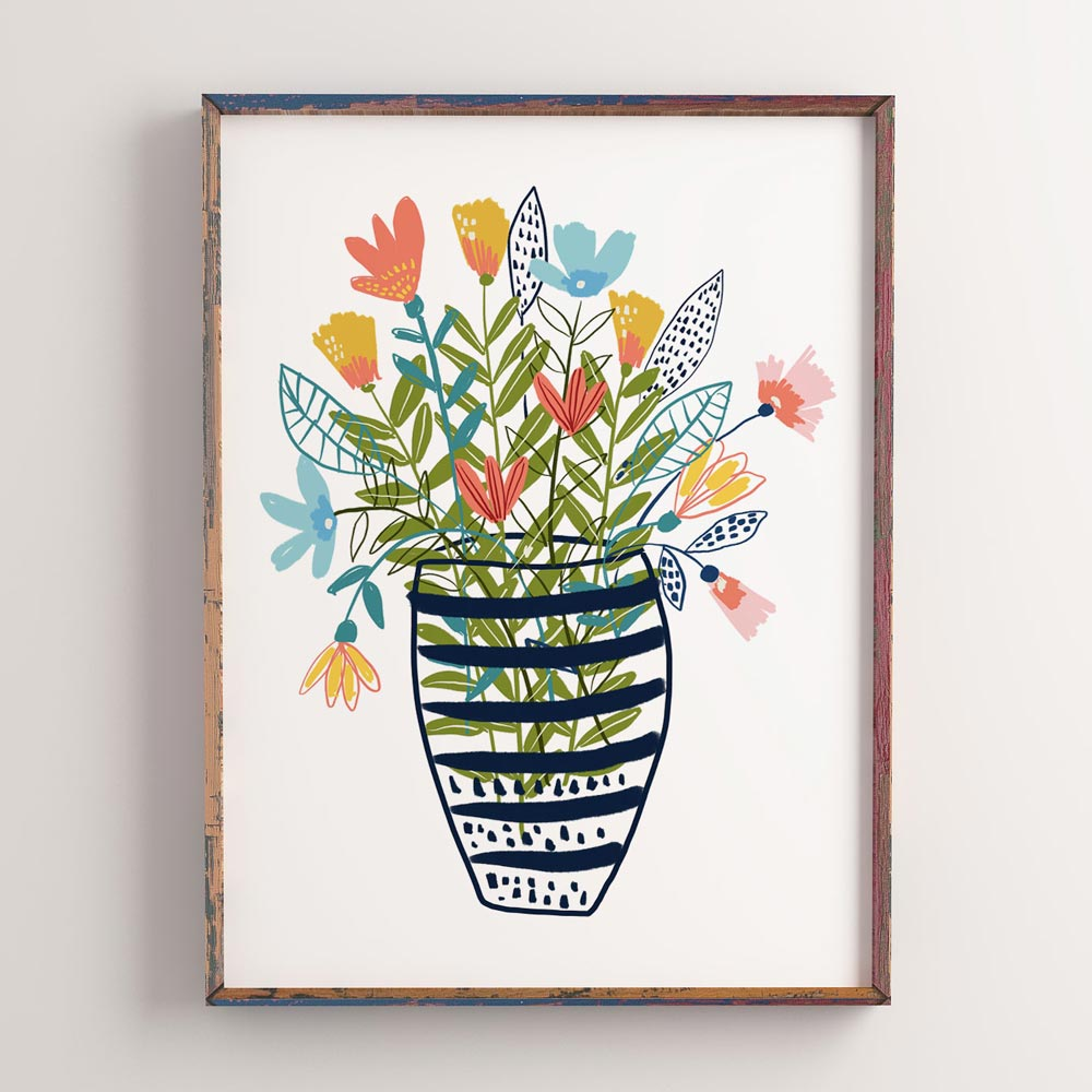 Flowers in a vase printable art