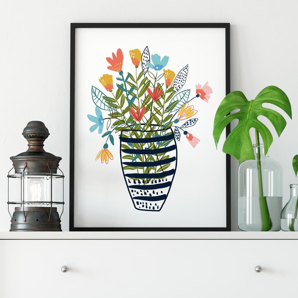 Flowers in a vase printable art wall in frame
