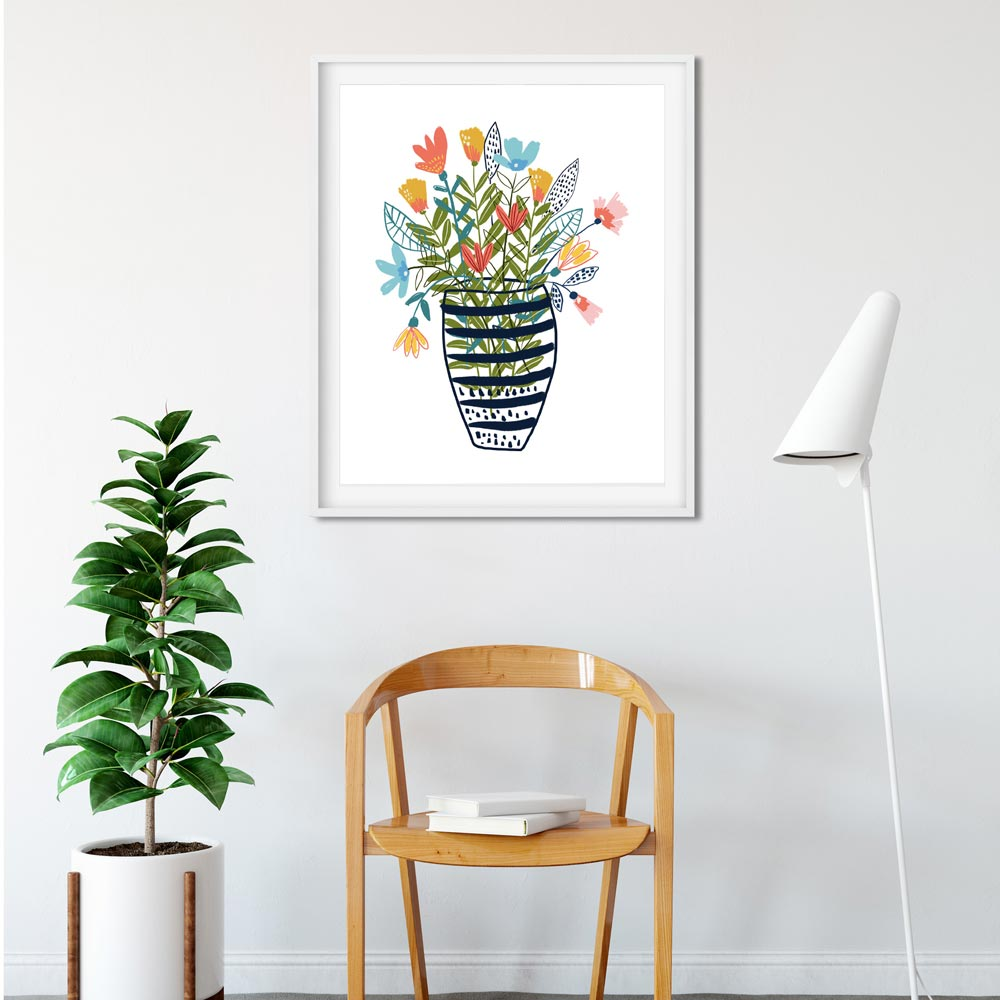 wild flowers in a vase wall art