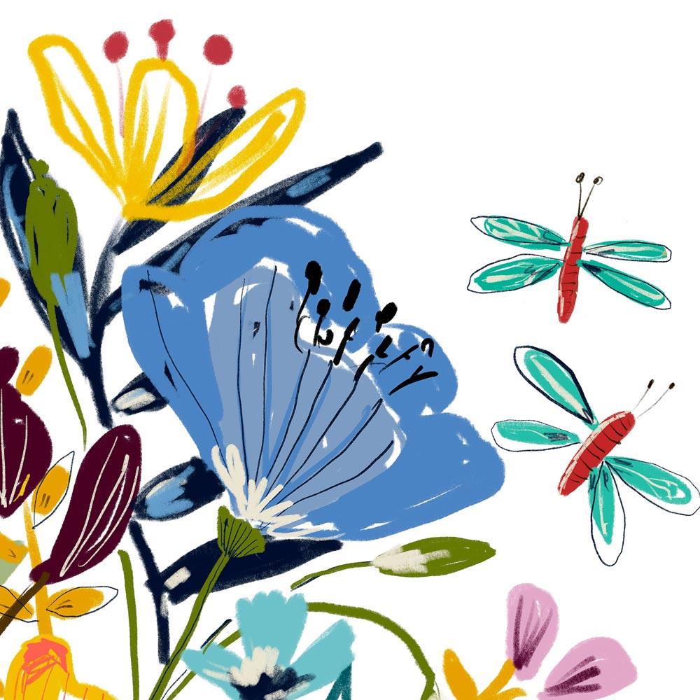 Printable wildflowers art detail
