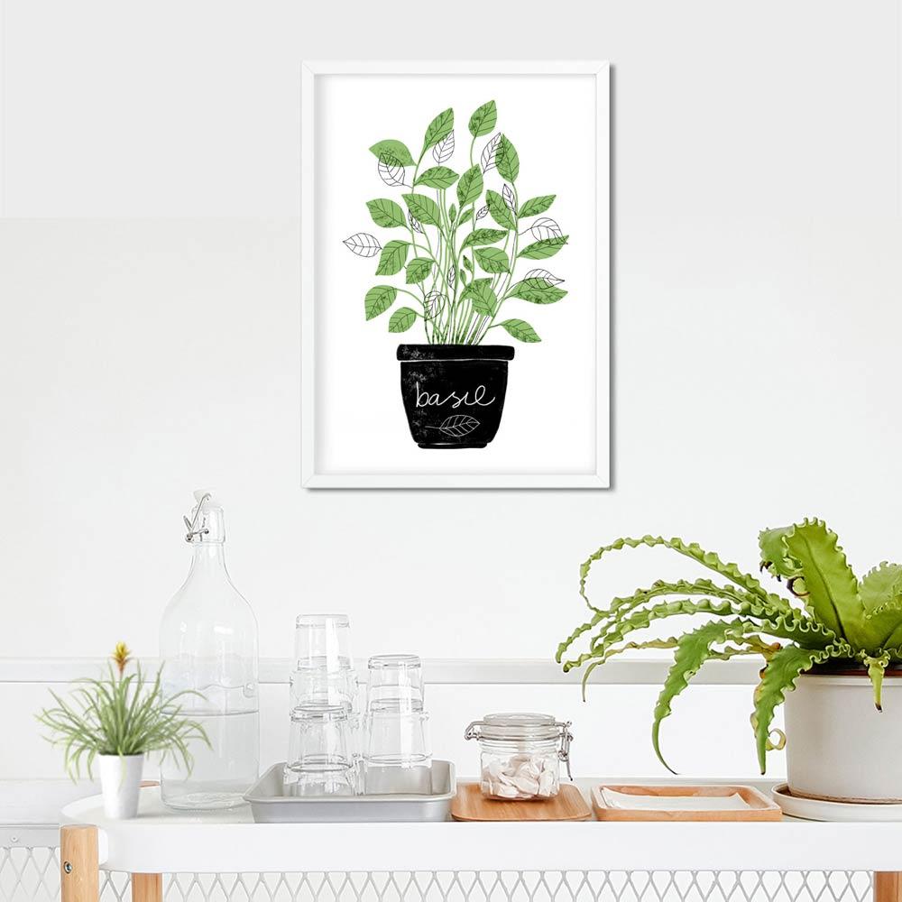 Basil kitchen wall art in frame
