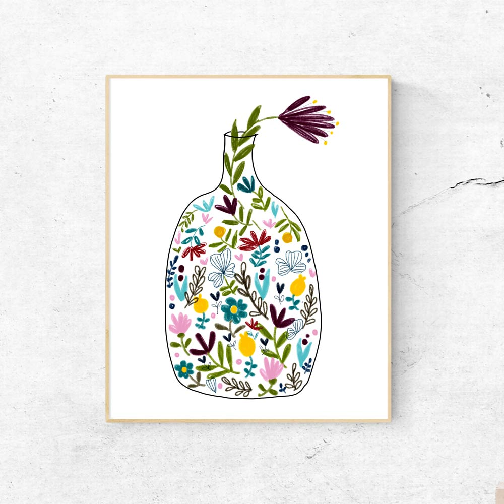 Bottle with flowers printable art