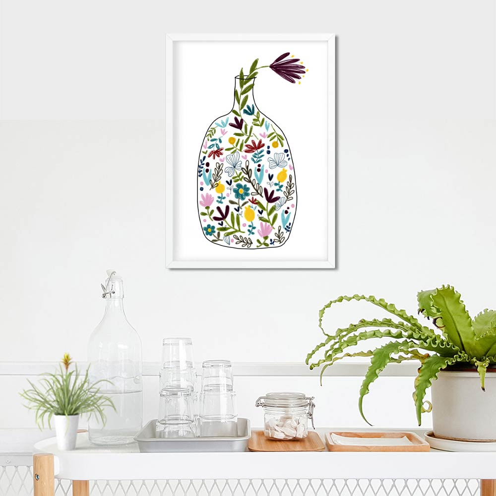 Bottle with flowers art in frame