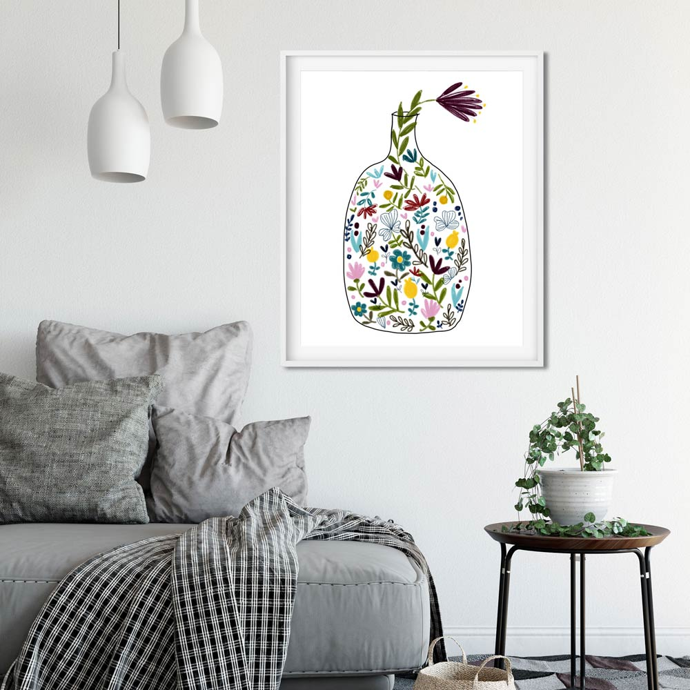 Bottle with flowers art wall