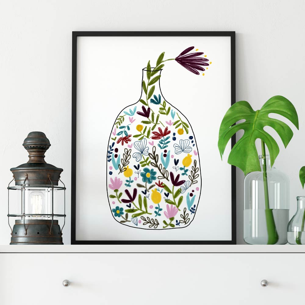 Bottle with flowers printable wall art