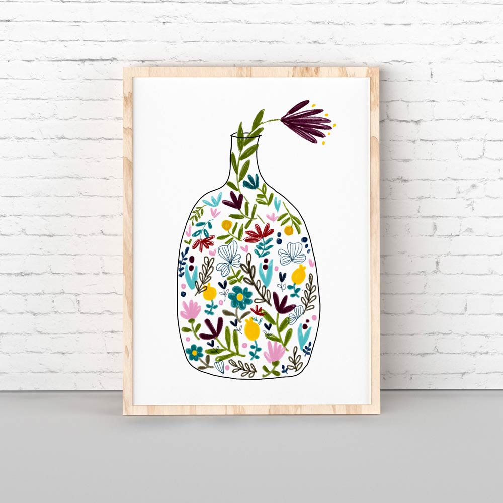 kitchen art bottle with flowers