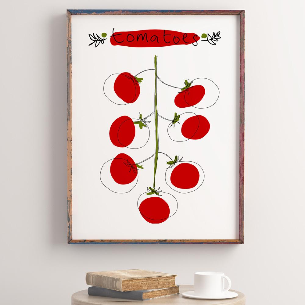 Cherry tomatoes kitchen wall art