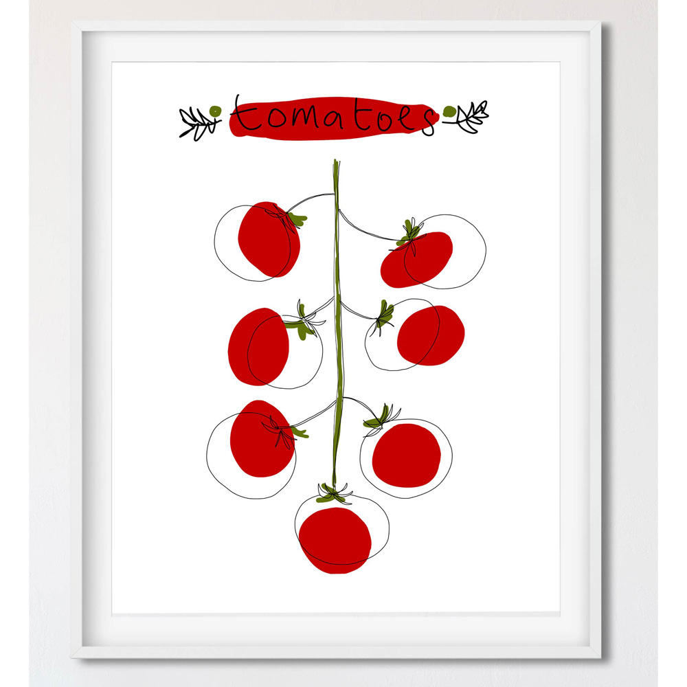 Cherry tomatoes wall art in frame