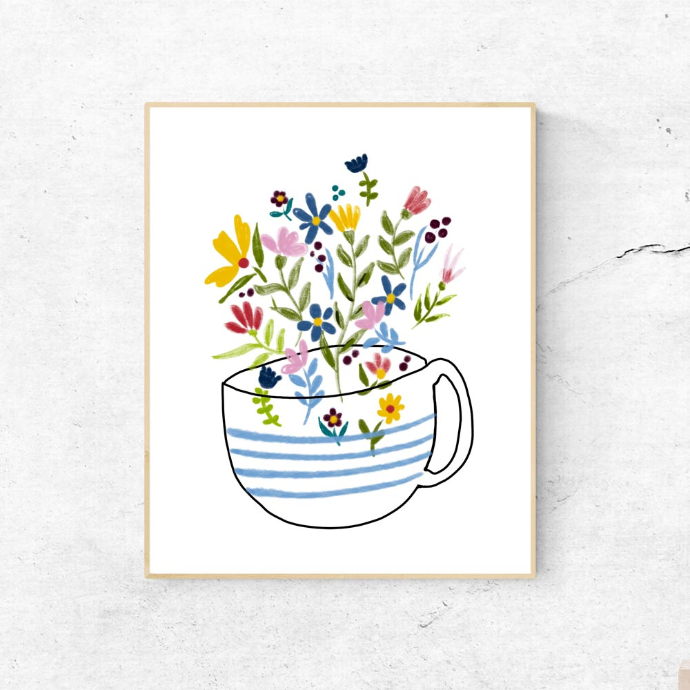 Coffee cup illustration printable art