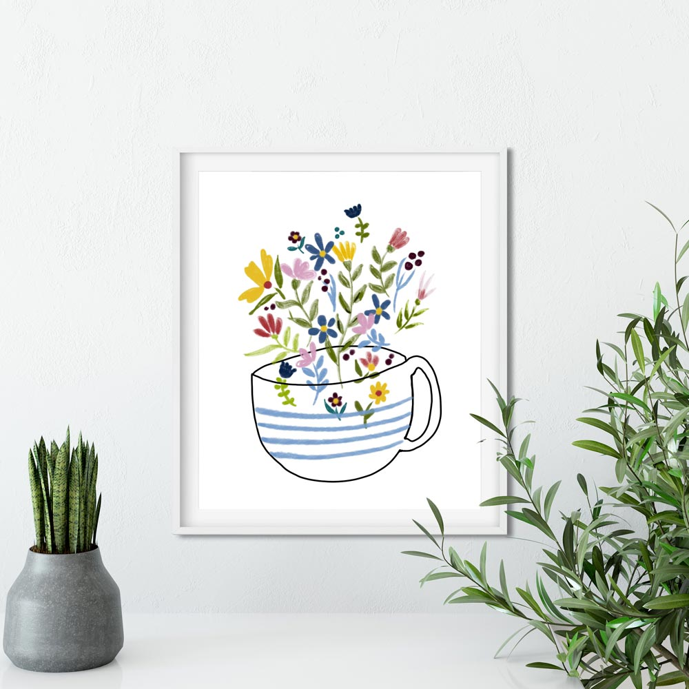 Floral coffee cup printable wall art
