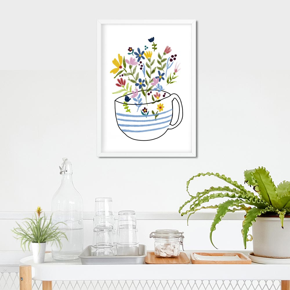 Floral coffee cup Printable wall art frame