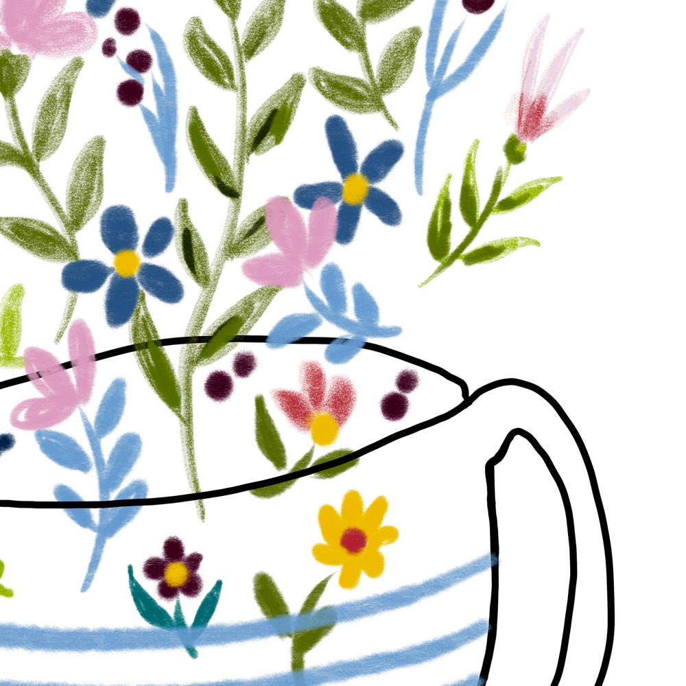 Floral coffee cup detail