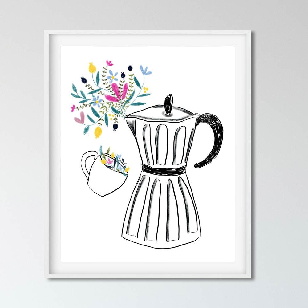 Coffee machine illustration in frame