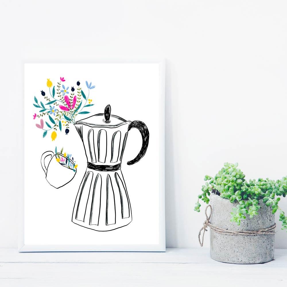 Moka coffee machine printable art