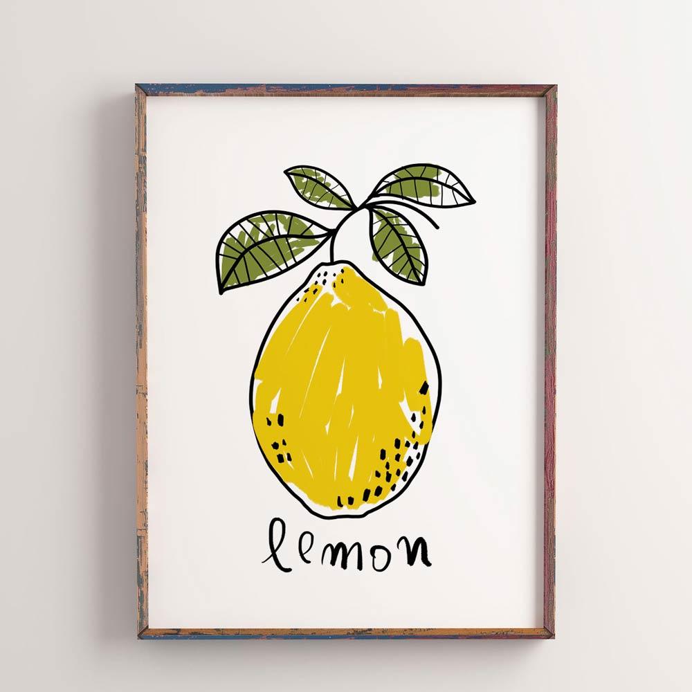 One Lemon wall art in frame