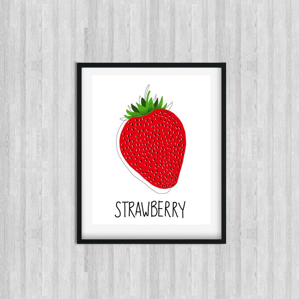 Strawberry kitchen wall art decor