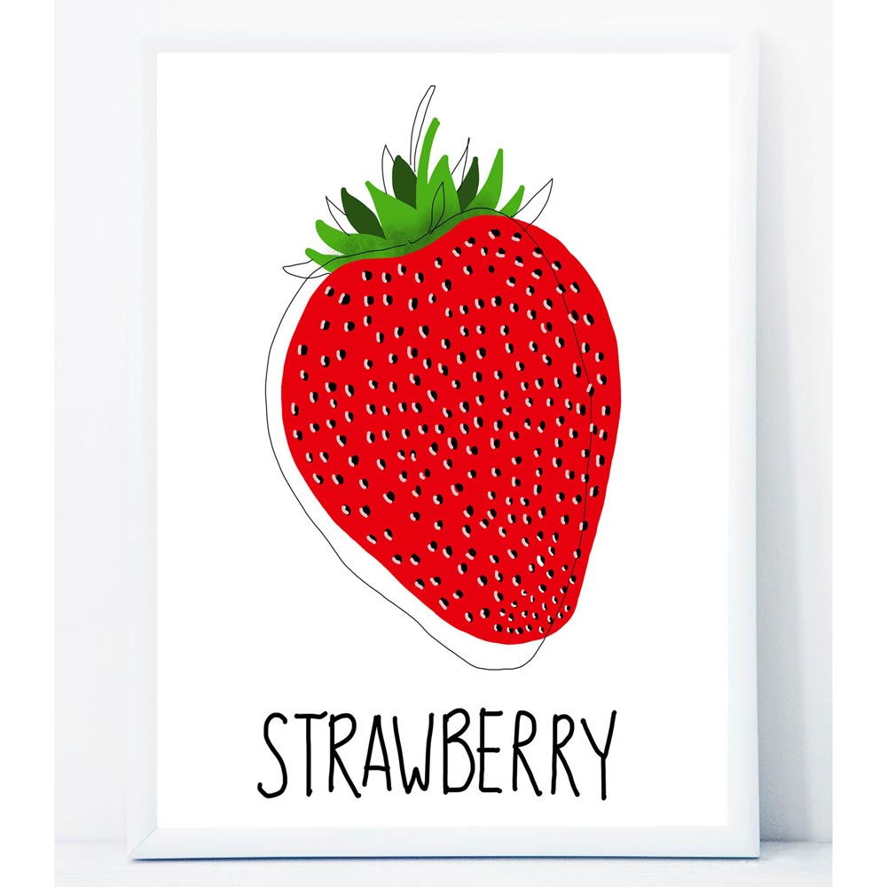 Strawberry wall art in frame
