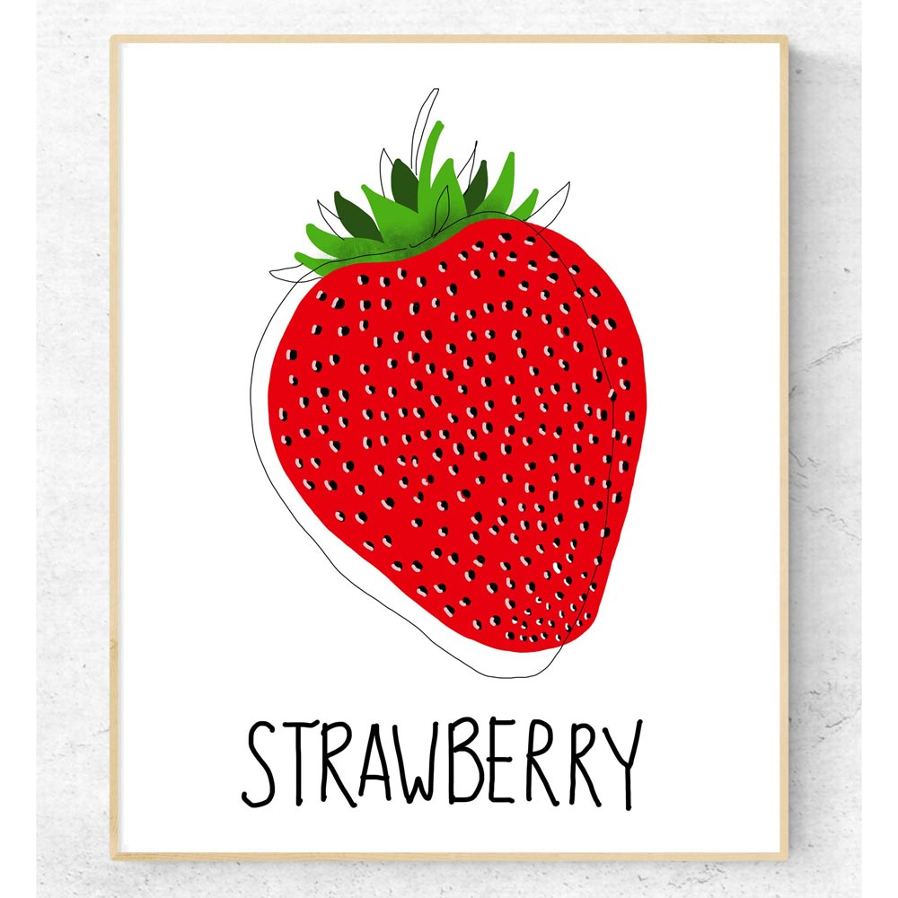 Strawberry kitchen wall art detail