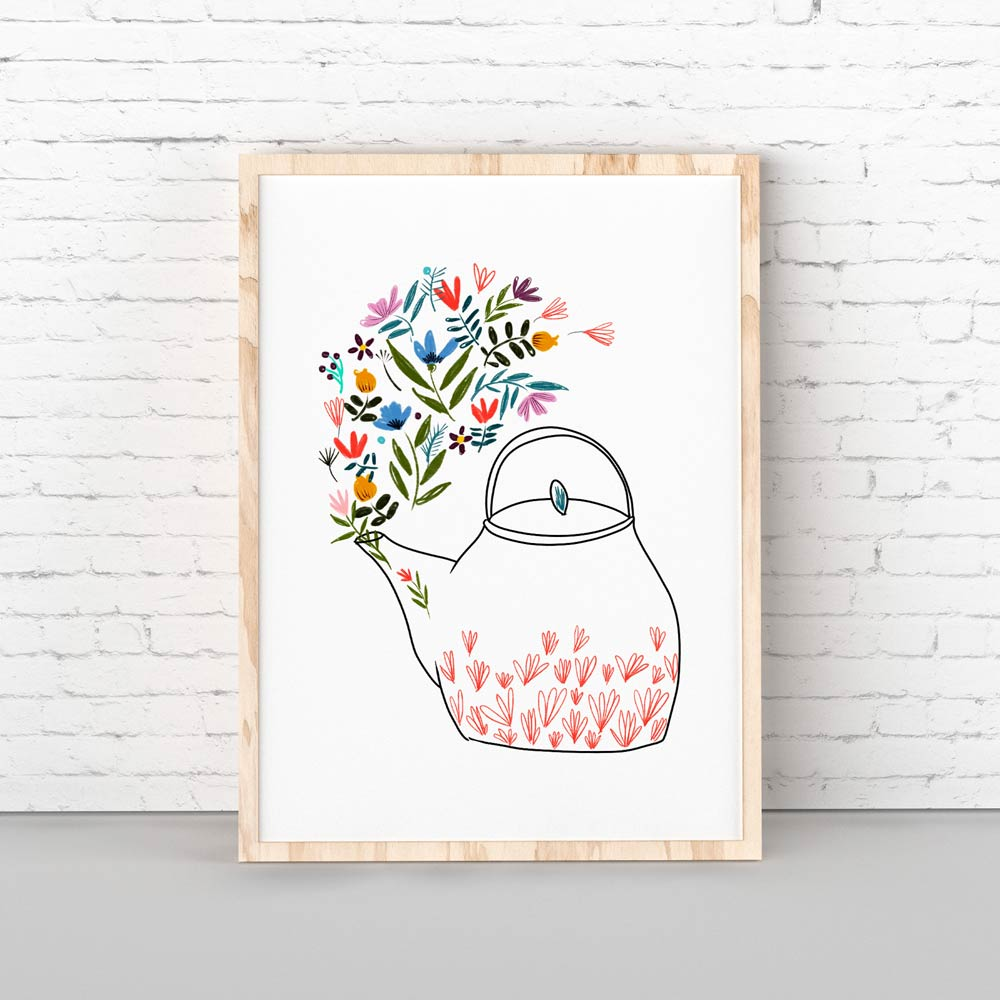 Teapot wall art in frame