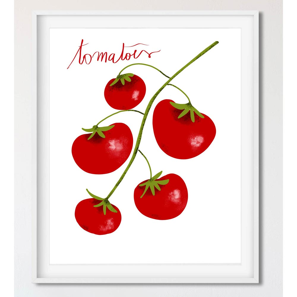 Tomatoes kitchen wall art in frame