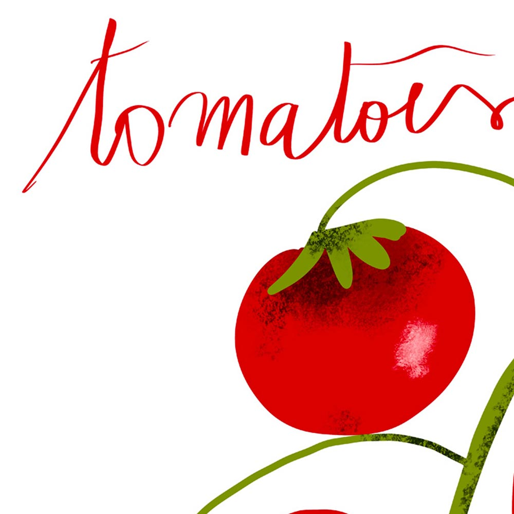 Tomatoes kitchen wall art detail