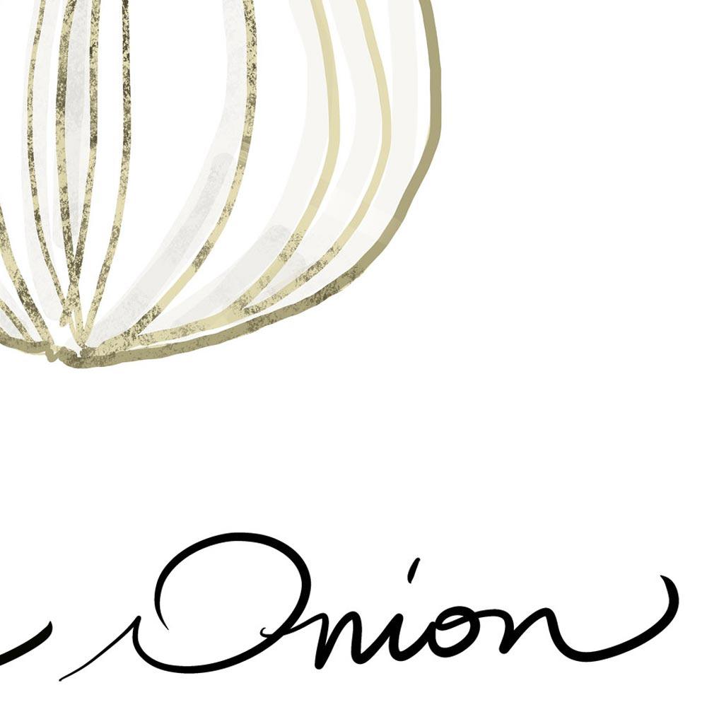 White onion kitchen wall art detail