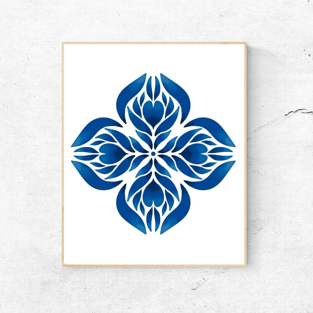 Blue Manadala art wall in frame