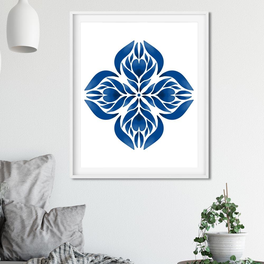 Blue Manadala printable art frame
