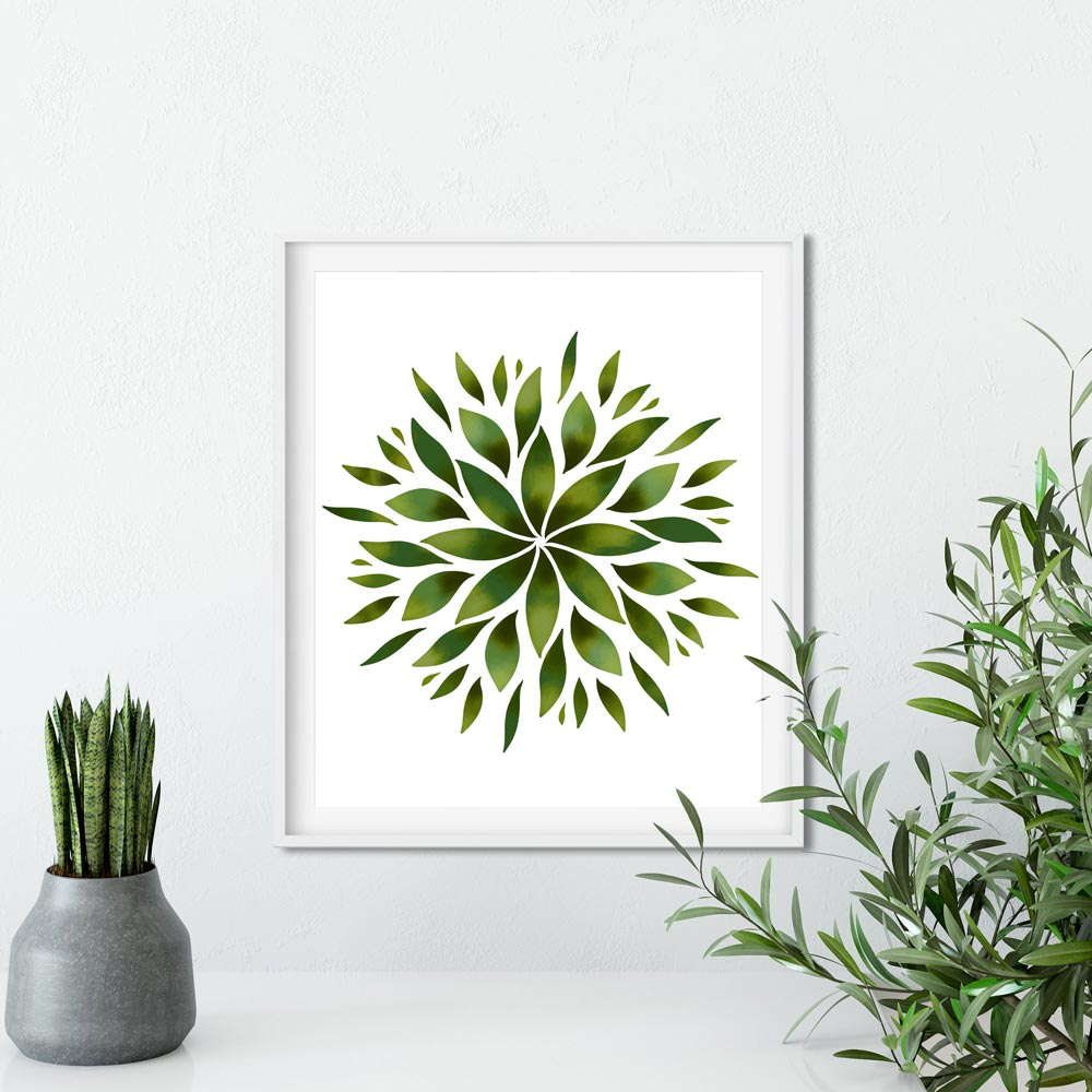 Green Mandala wall art decor