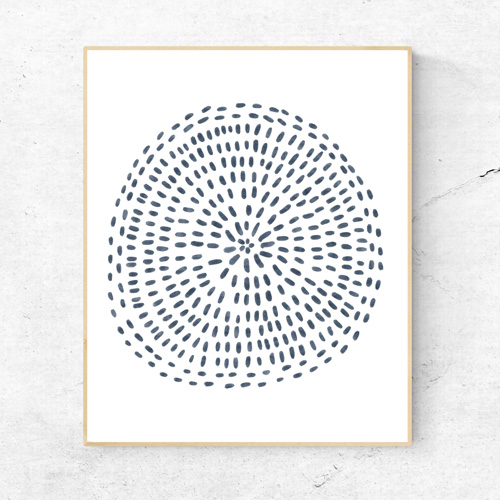 Navy blue modern mandala art