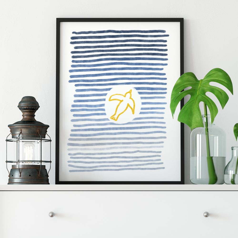 Flying bird wall art in frame