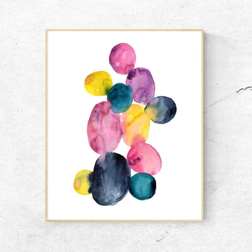 Watercolor dots art