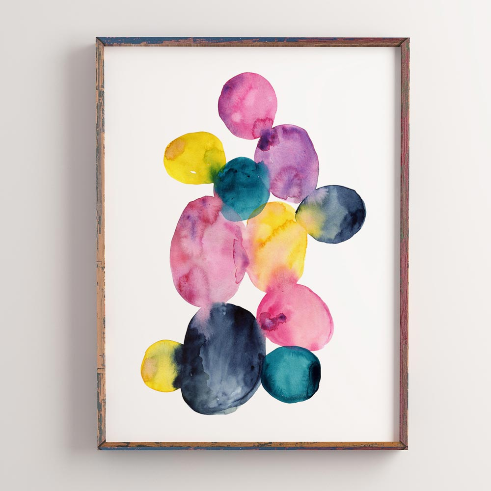 Watercolor dots Printable art frame