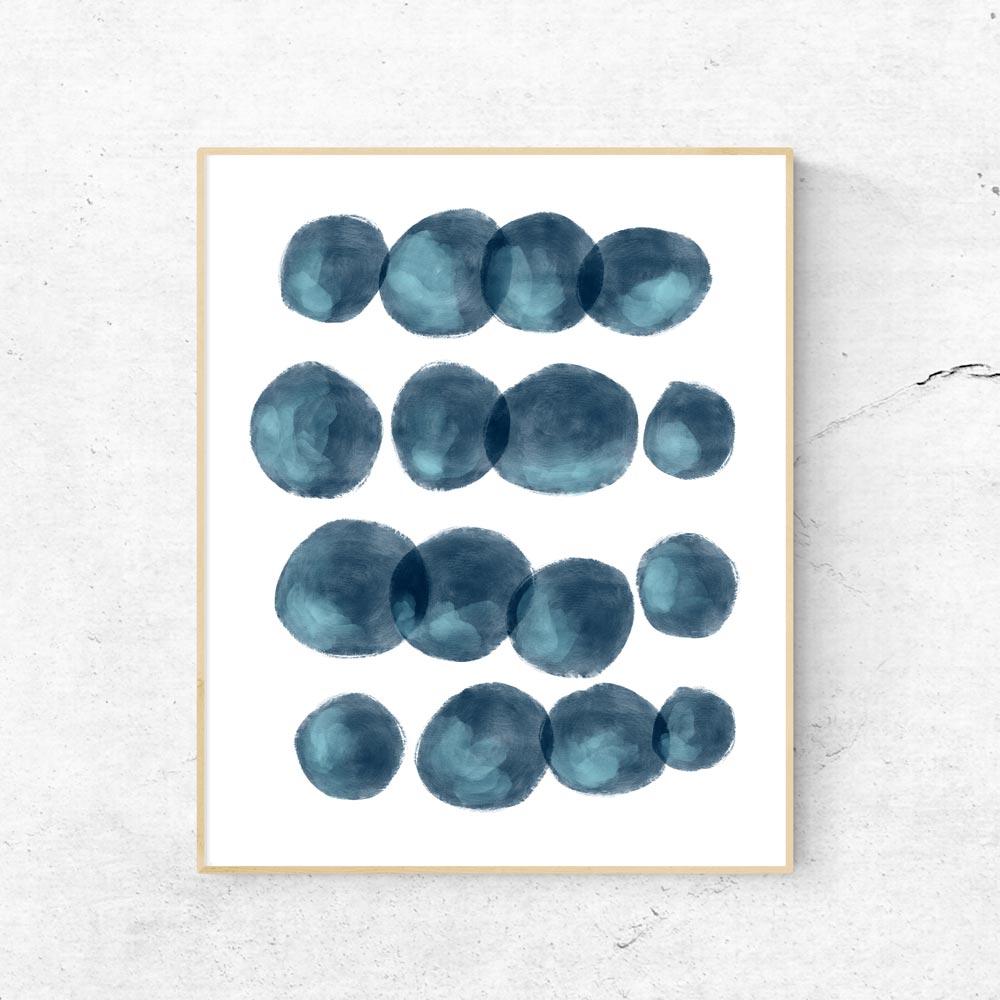 Navy blue modern shapes wall art