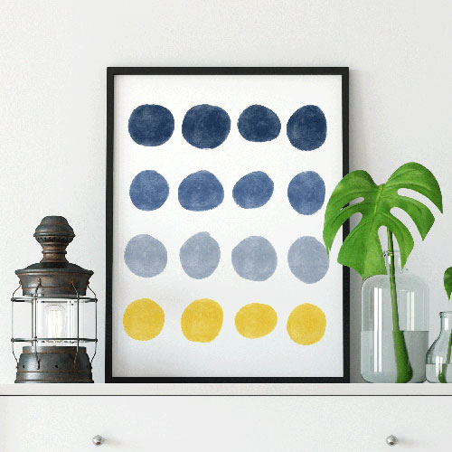 Blue and yellow dots