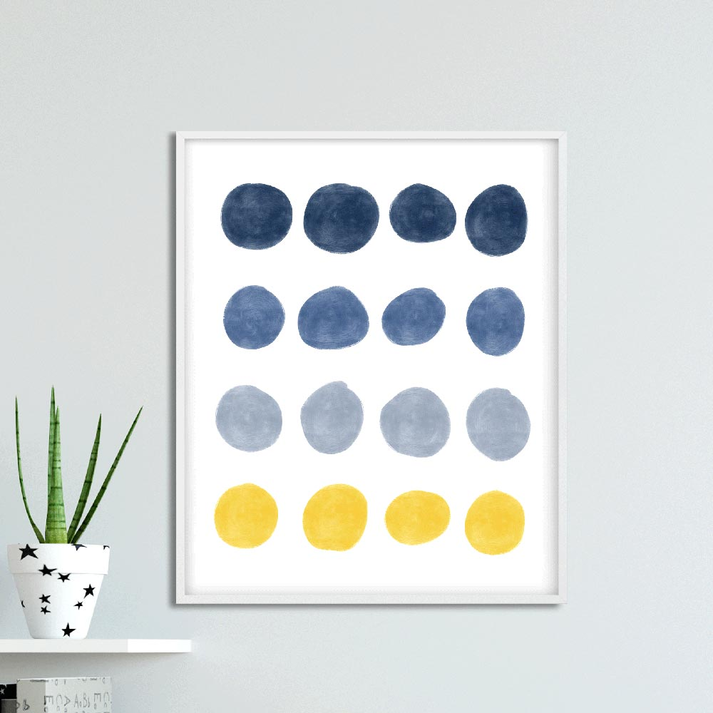 Blue and yellow dots Scandinavian wall art in frame