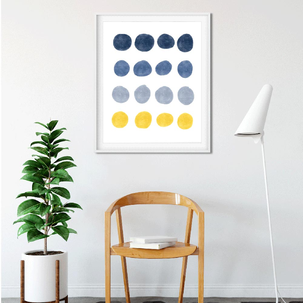 Blue and yellow dots Scandinavian printable art