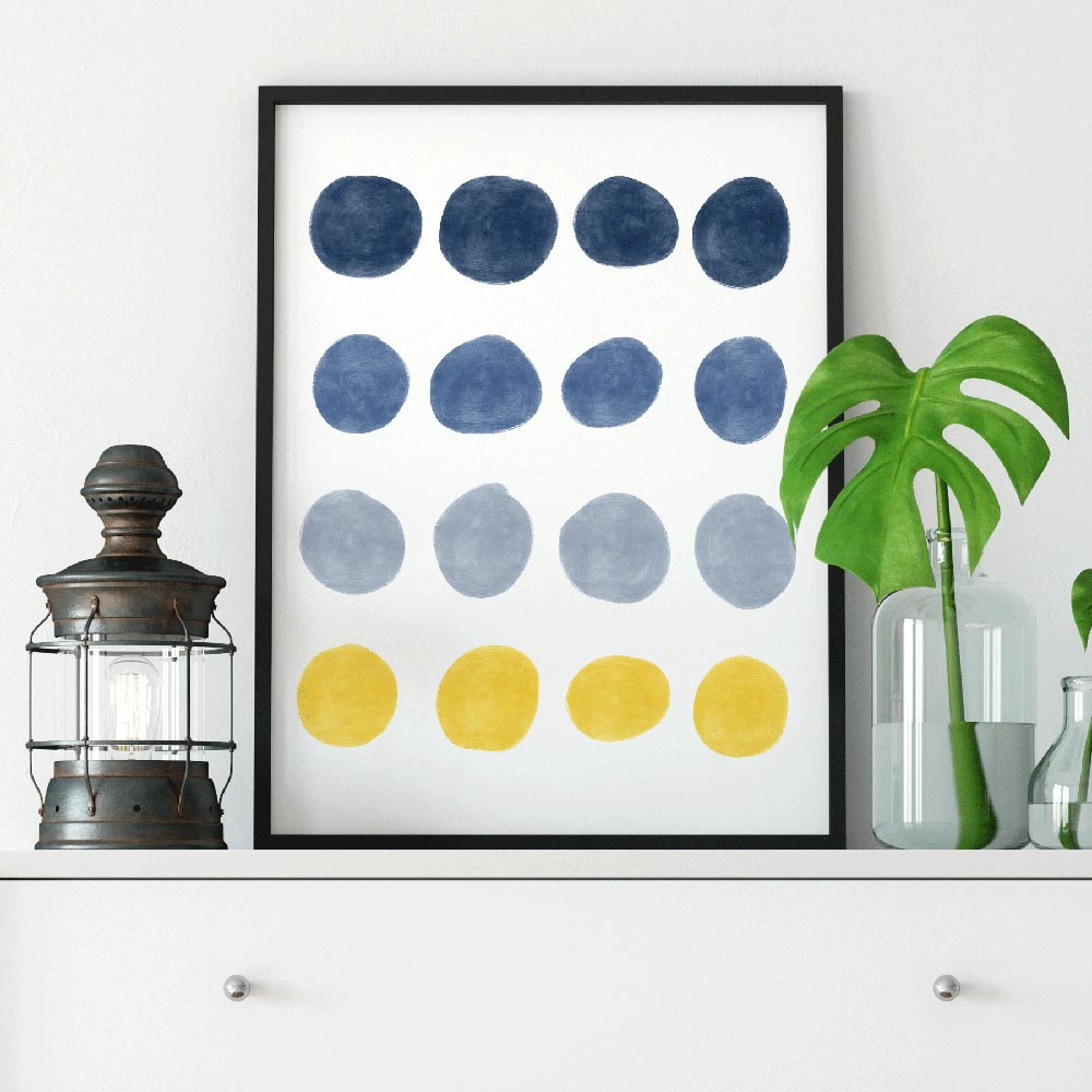 Blue and yellow dots Scandinavian wall art