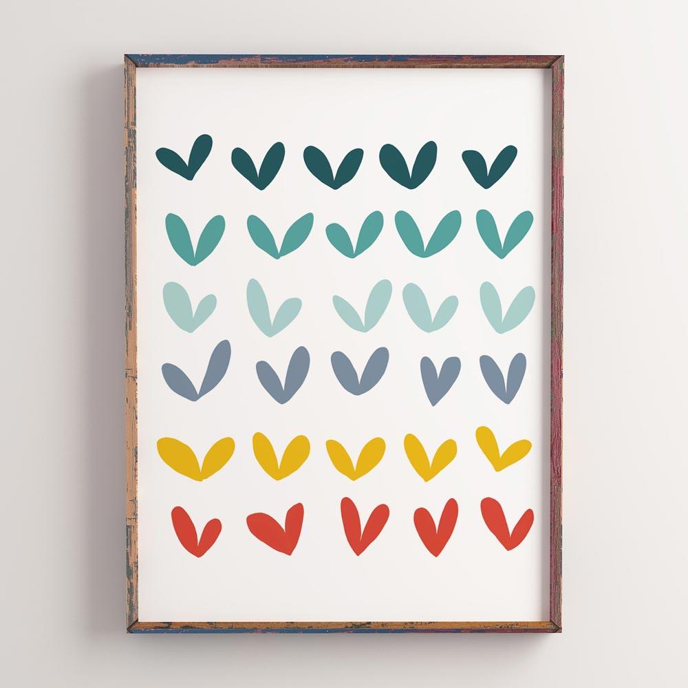 Play hearts nursery art frame