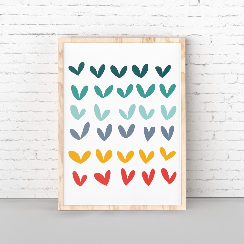 Play hearts kids wall art in frame