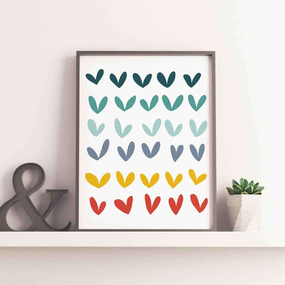Play hearts nursery printable art