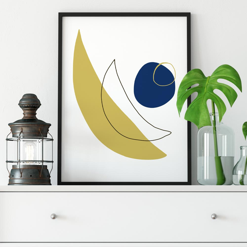 Modern moon abstract art in frame