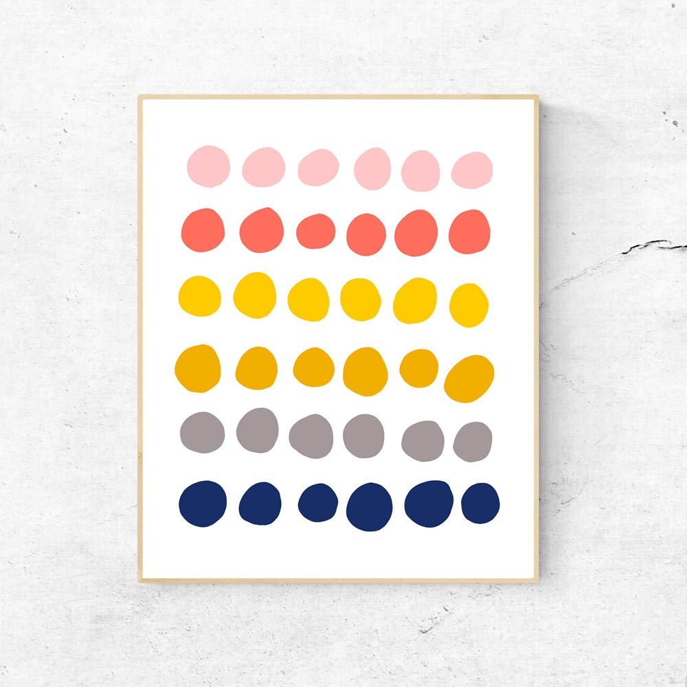 Colorful dots art wall in frame