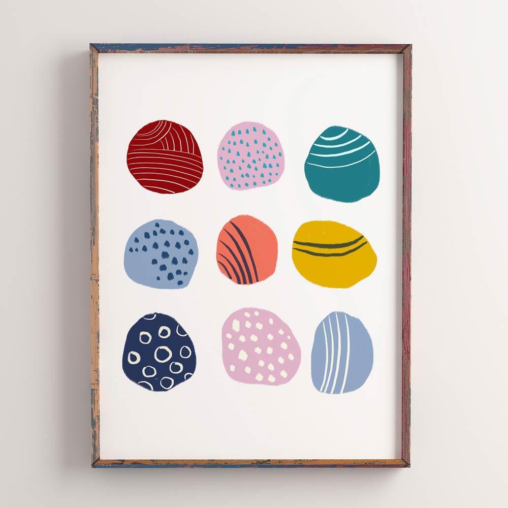 Play dots nursery art wall