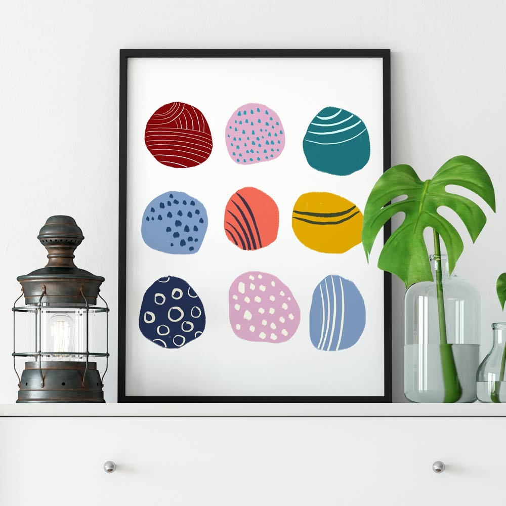 Play dots nursery wall art in frame