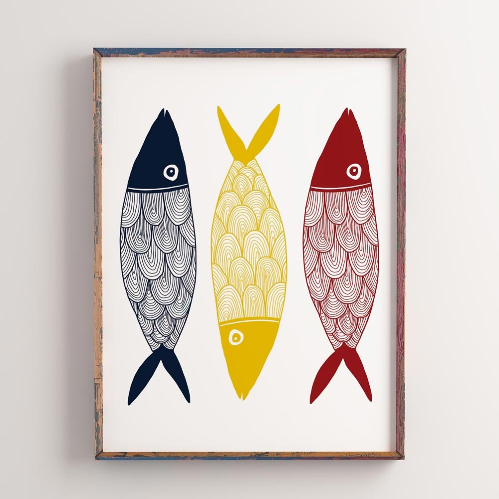 Three color fish wall art decor