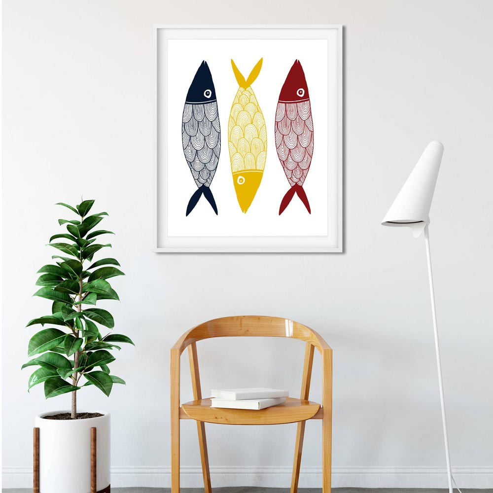 Three color fish printable art