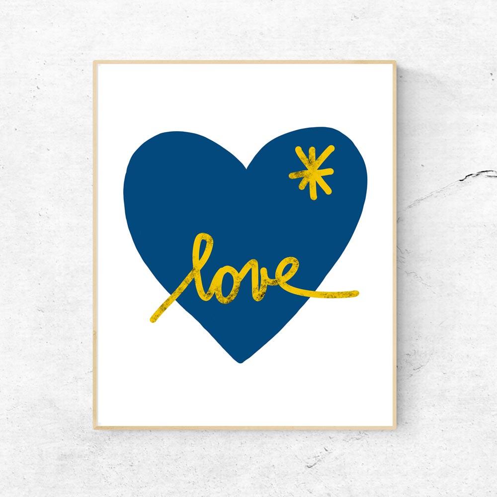 Blue heart wall art decor